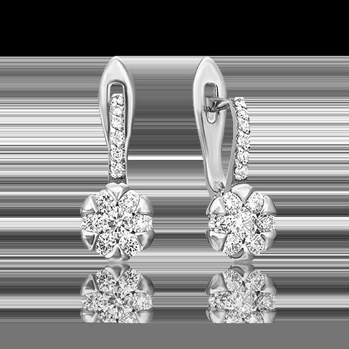 Серьги с английским замком из белого золота бриллиантом 02-0872-00-101-1120-30