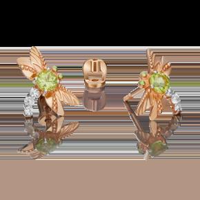 Серьги-пусеты из красного золота с хризолитом, топазом white и эмалью 02-4679-00-243-1110-57