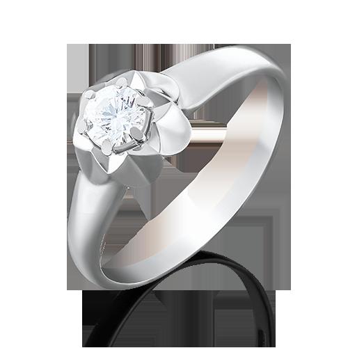 Помолвочное кольцо из белого золота фианитом огр.SW 01-4941-00-501-1120-38