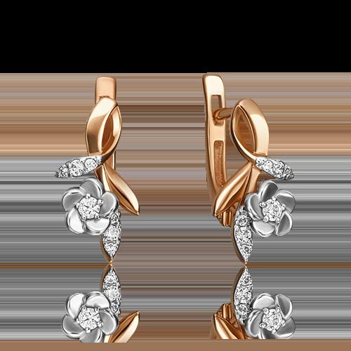Серьги с английским замком из комбинированного золота фианитом огр.SW 02-3476-00-501-1111-38