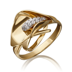 Кольцо из лимонного золота с фианитом 01-5227-00-401-1130-23