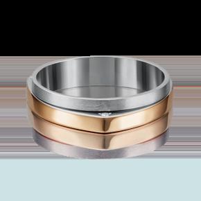 Обручальное кольцо из комбинированного золота с бриллиантом 01-5185-00-101-1111-30