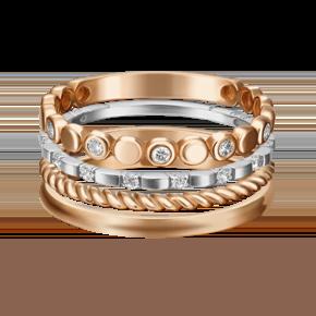 Наборное кольцо из комбинированного золота с фианитом 13-0005-00-401-1111-48