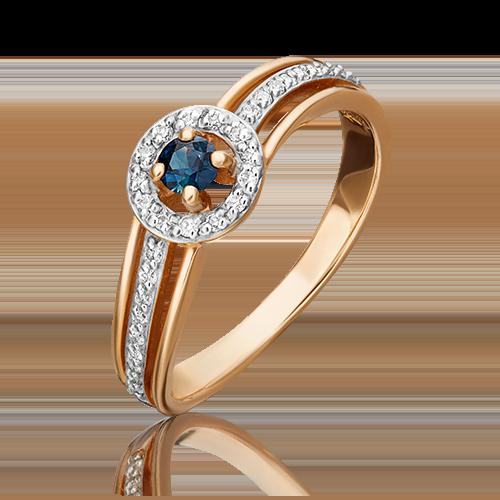 Кольцо из красного золота с сапфиром и бриллиантом 01-1518-00-105-1110-30