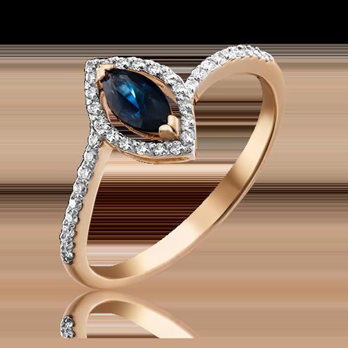 Кольцо из красного золота с сапфиром и бриллиантом 01-1519-00-105-1110-30