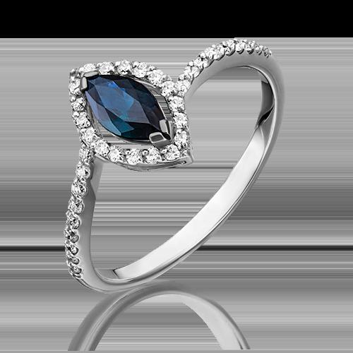 Кольцо из белого золота с сапфиром и бриллиантом 01-1519-00-105-1120-30