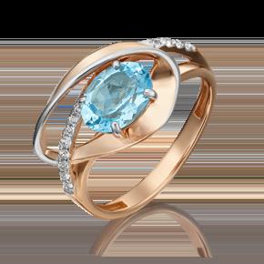 Кольцо из красного золота с топазом и топазом white 01-5330-00-201-1110-57