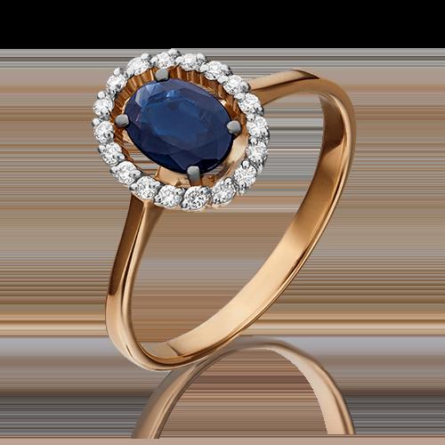 Кольцо из красного золота с сапфиром и бриллиантом 01-1313-00-105-1110-30