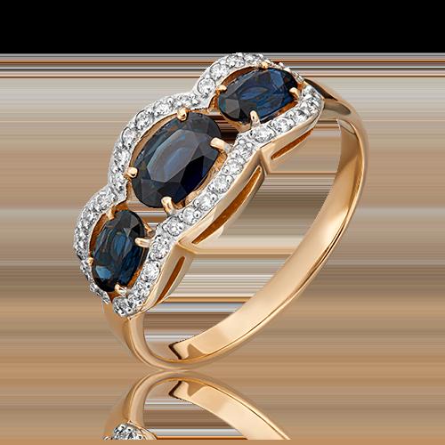 Кольцо из красного золота с сапфиром и бриллиантом 01-1315-00-105-1110-30