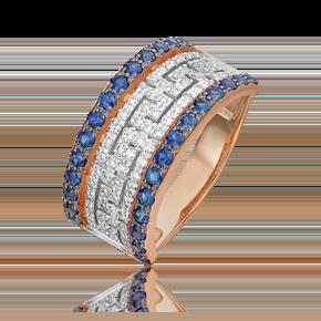 Кольцо из красного золота с сапфиром и бриллиантом 01-5507-00-105-1110-30