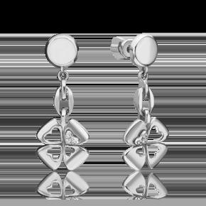 Серьги-пусеты из белого золота с бриллиантом 02-4820-00-101-1120