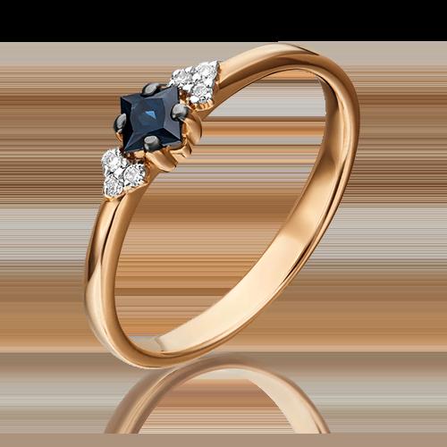 Кольцо из красного золота с сапфиром и бриллиантом 01-1474-00-105-1110-30