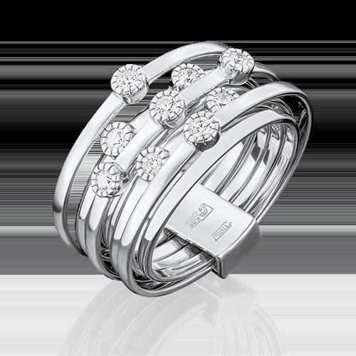 Кольцо из белого золота фианитом огр.SW 01-4697-00-501-1120-38