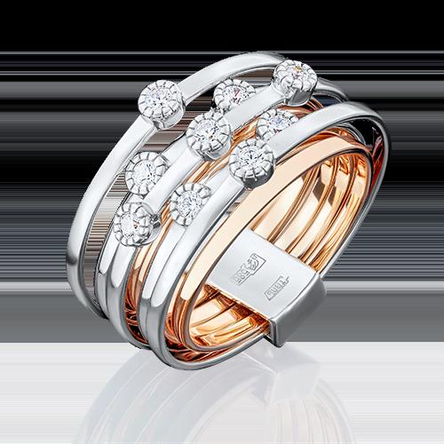 Кольцо из комбинированного золота фианитом огр.SW 01-4697-00-501-1111-38