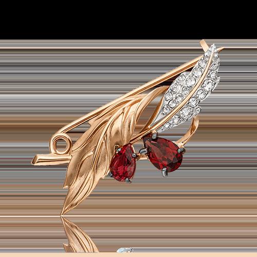 Брошь из красного золота с гранатом и топазом 04-0238-00-264-1110-46
