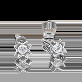Серьги-пусеты из белого золота с бриллиантом 02-4162-00-101-1120-30