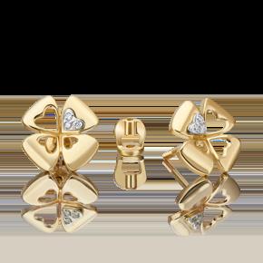 Серьги-пусеты из лимонного золота с бриллиантом 02-4821-00-101-1121
