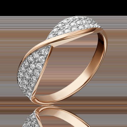 Кольцо из красного золота фианитом 01-4054-00-401-1110-24