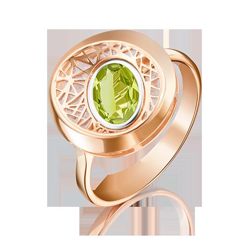 Кольцо из красного золота хризолитом 01-5091-00-205-1110-57