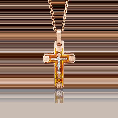 Подвеска из комбинированного золота с янтарём 03-2710-00-271-1111-46