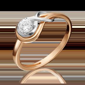 Кольцо из комбинированного золота с фианитом огр.SW 01-5343-00-501-1111-38
