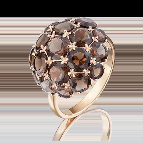 Кольцо из красного золота с кварцем дымчатым 01-4377-00-202-1110-46