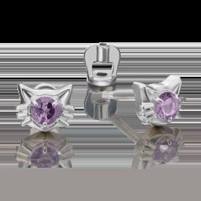 Серьги-пусеты из серебра с аметистом 02-4613-00-203-0200-68