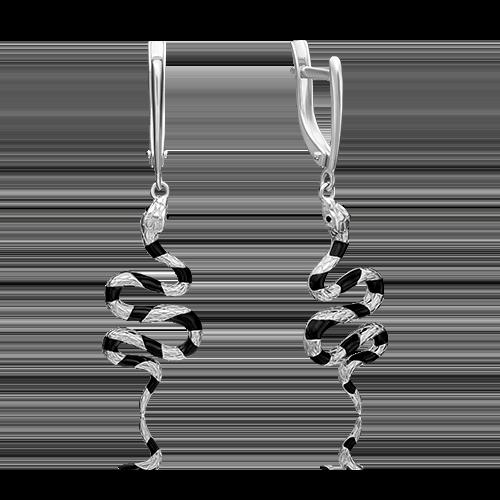Серьги с английским замком из серебра с эмалью 02-4660-00-000-0200-68