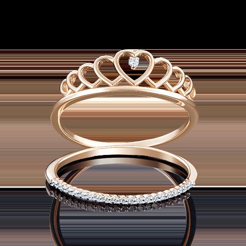Кольцо из красного золота с фианитом 01-4774-00-401-1110-23