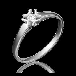 Помолвочное кольцо из белого золота с бриллиантом 01-5145-00-101-1120-30