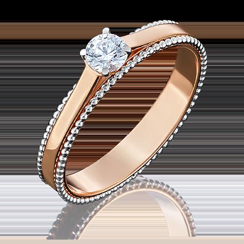 Помолвочное кольцо из комбинированного золота с фианитом огр.SW 01-5048-00-501-1111-38