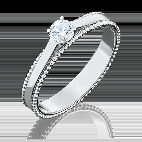 Помолвочное кольцо из белого золота с фианитом огр.SW 01-5048-00-501-1120-38