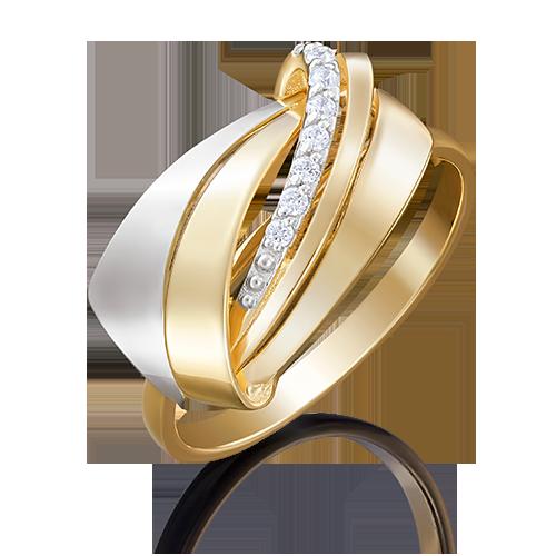 Кольцо из лимонного золота с фианитом 01-5049-00-401-1121-03
