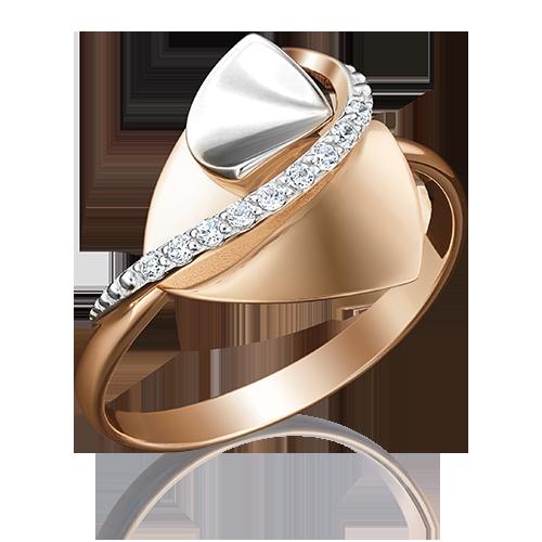 Кольцо из комбинированного золота с фианитом 01-5050-00-401-1111-03