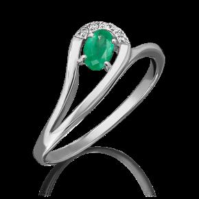 Кольцо из белого золота с изумрудом и бриллиантом 01-0663-00-106-1120-30