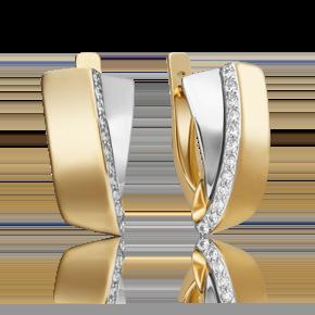 Серьги с английским замком из лимонного золота с фианитом 02-4570-00-401-1121-23