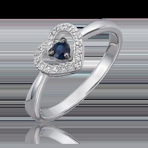 Кольцо из белого золота с сапфиром и бриллиантом 01-5543-00-105-1120-30