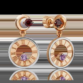 Серьги-пусеты из комбинированного золота с гранатом и аметистом 02-4758-00-257-1111-75