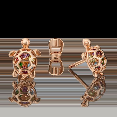 Серьги-пусеты из красного золота с хризолитом, гранатом, аметистом, хромдиопсидом, цитрином и топазом 02-4525-00-717-1110-57
