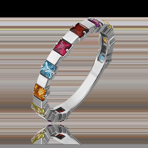 Кольцо из белого золота с хризолитом, гранатом, цитрином, топазом и аметистом 01-5321-00-252-1120-57