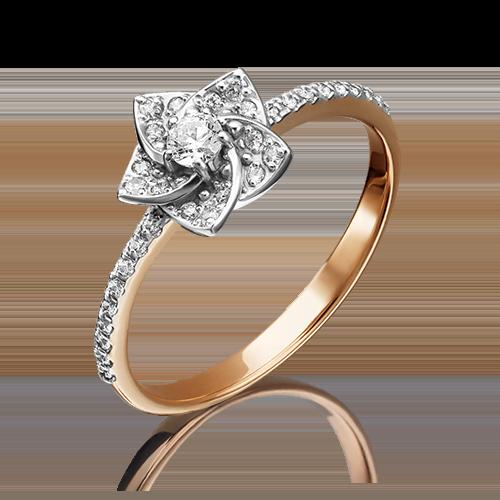 Кольцо из комбинированного золота с фианитом огр.SW 01-4620-00-501-1111-38