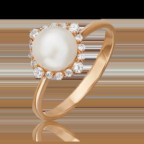 Кольцо из красного золота с жемчугом культивированным и фианитом 01-4467-00-302-1110-03