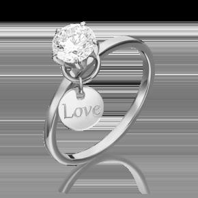 Помолвочное кольцо из белого золота с фианитом огр.SW 01-5326-00-501-1120-38