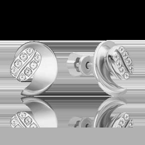 Серьги-пусеты из белого золота с топазом white 02-4917-00-201-1120
