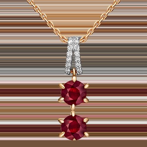 Подвеска из красного золота с рубином и бриллиантом 03-0430-00-107-1110-30