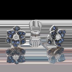 Серьги-пусеты из белого золота с бриллиантом и сапфиром 02-0736-00-105-1120-30