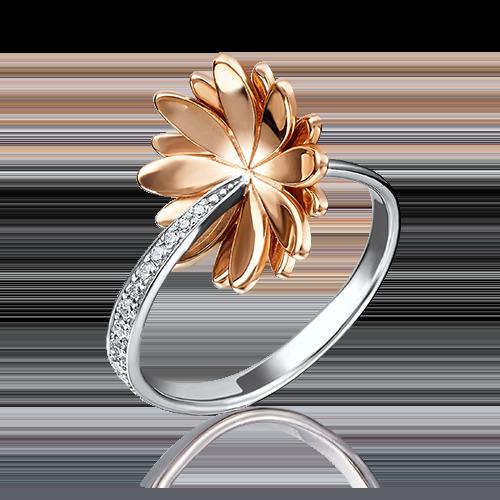 Кольцо из комбинированного золота фианитом 01-4734-00-401-1111-03