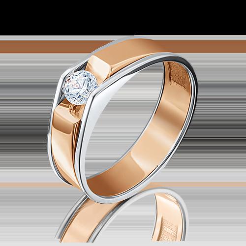Кольцо из комбинированного золота с фианитом огр.SW 01-5075-00-501-1111-38