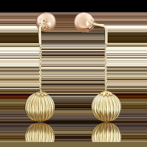 Серьги-пусеты из комбинированного золота 02-3572-00-000-1113-01