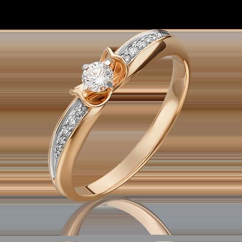 Кольцо из красного золота с бриллиантом 01-4961-00-101-1110-30